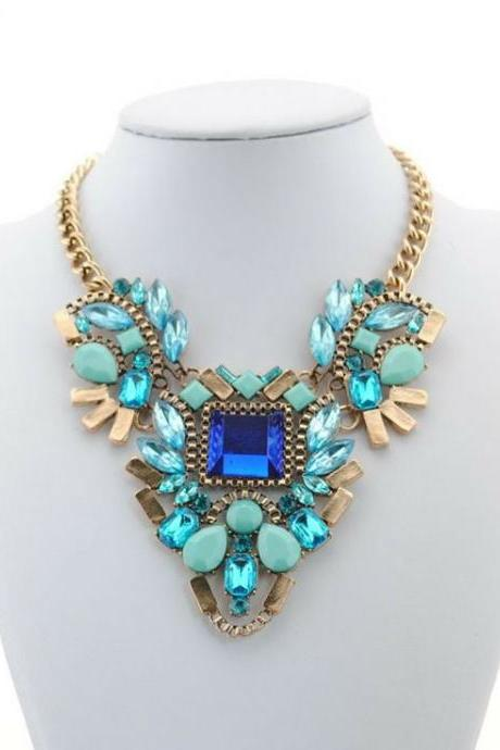 Blue Faux Crystal and Gemstones Statement Necklace