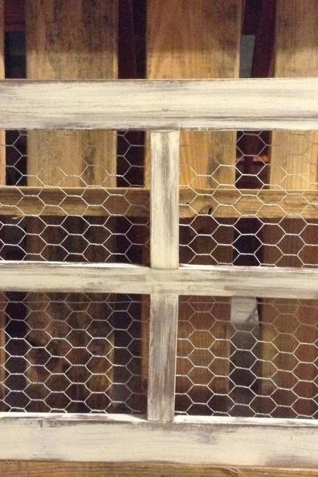 Large Old Wood Window with Chicken Wire for Pictures