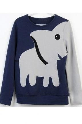 elephant pattern long-sleeved pullover sweater