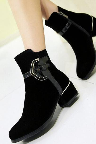 Patent Leather Boots Matte Stitching