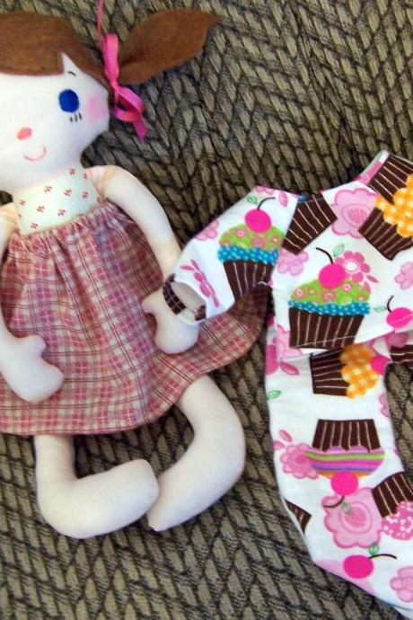 Mae Girl Doll with Pigtails, Bows and Pink Skirt includes Cupcake Flannel 2 piece PJ's