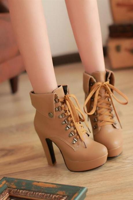 Winter Round Toe Stiletto High Heel Lace Up Ankle Apricot Martens Boots