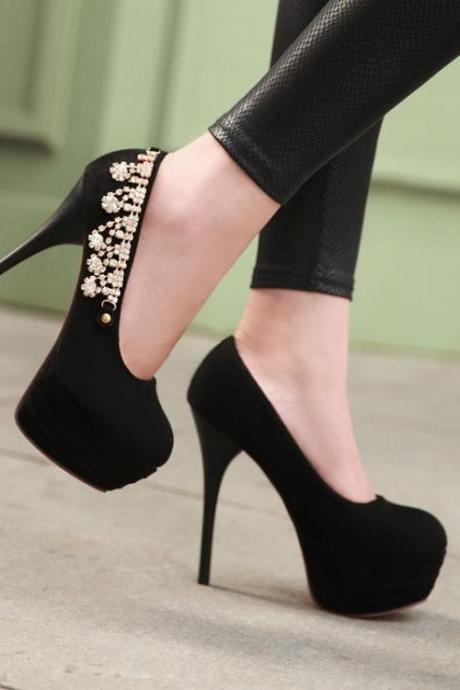 Black Rhinestone Embellished High Heels