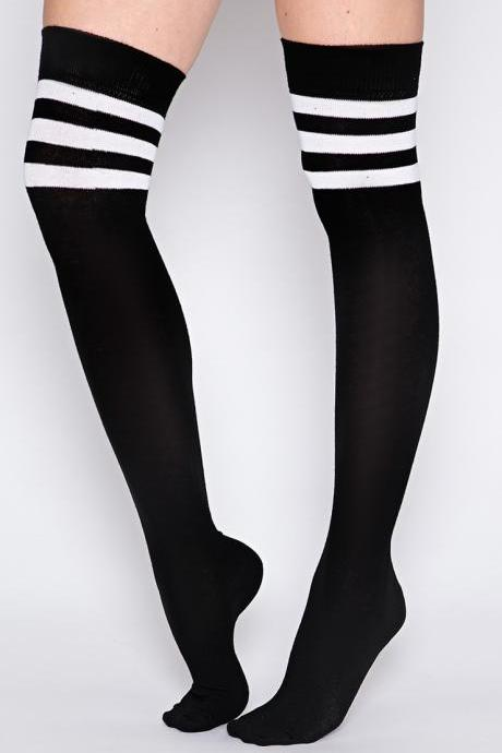 Black Socks With White Stripes