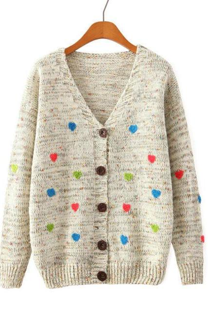 Cardigan Sweater With Embroidered Hearts In Beige