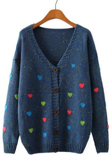 Cardigan Sweater With Embroidered Hearts In Blue