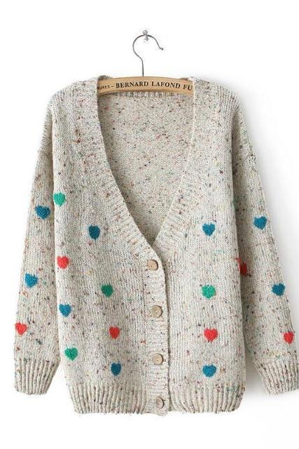 Cardigan Sweater With Embroidered Hearts In Gray