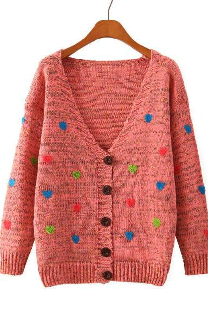 Cardigan Sweater With Embroidered Hearts In Red