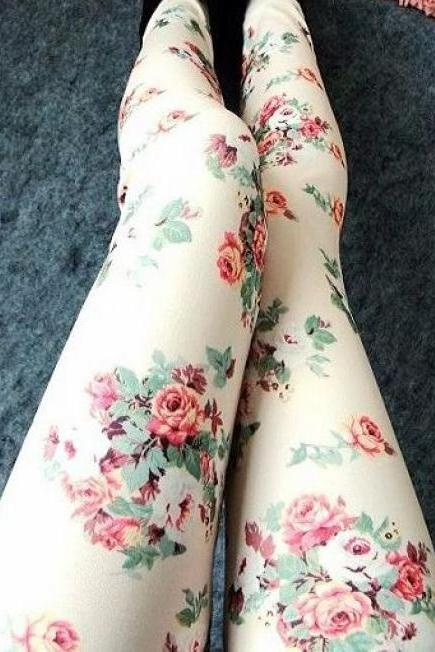 Floral Legging In White