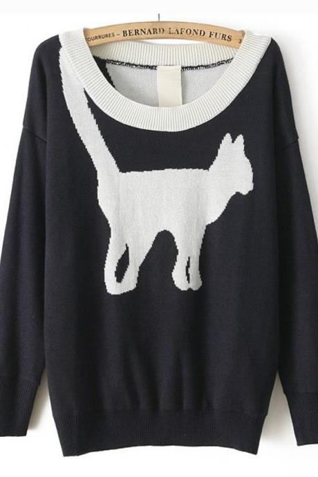 Pullover Sweater With Cat Print