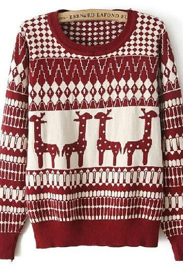 Pullover Sweater With Giraffe Print