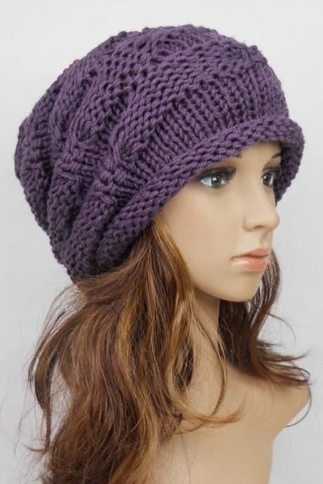 Slouchy Woman Handmade Knitting Hat Purple Clothing Cap