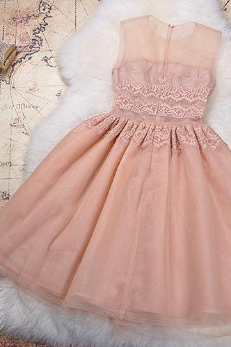 Beaded Lace Dress In Pink