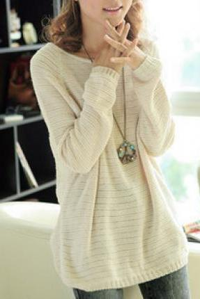 L 071303 Beige Loose Bat Sleeve Hollow Sweater