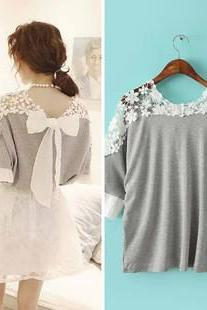 Casual Top With Bow On Back In Gray