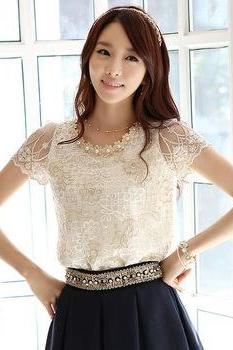 Elegant Beaded Short Sleeve Lace Blouses Top In White