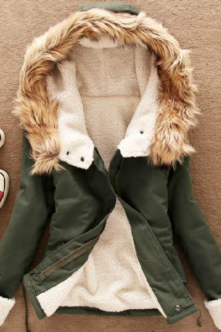 Fur Hooded Parka Coat with Front Zipper