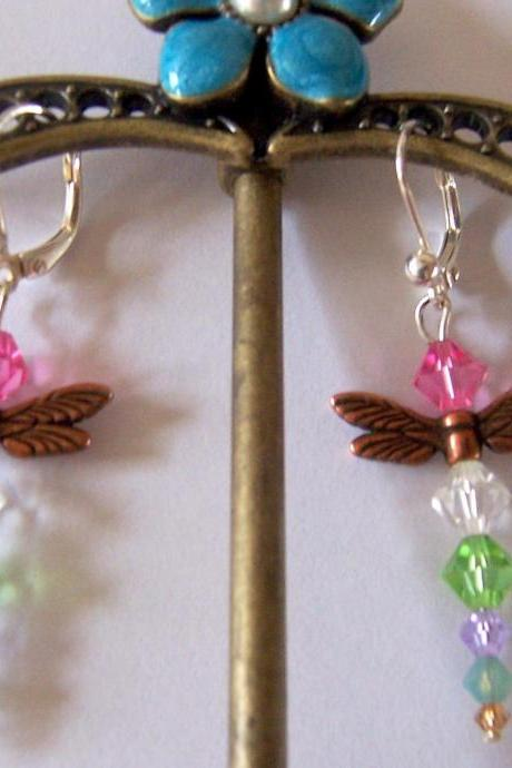SALE - 4 Dollars off - Dragonfly Swarovski Crystal Earrings Dangles - Multi Colored