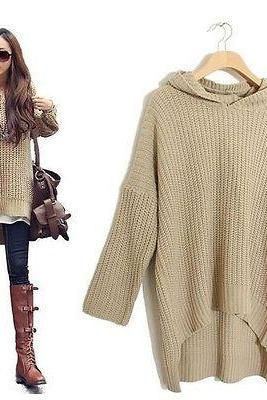Long Sleeve Casual Hooded Sweater With Bat-wing Sleeve In Beige And Black