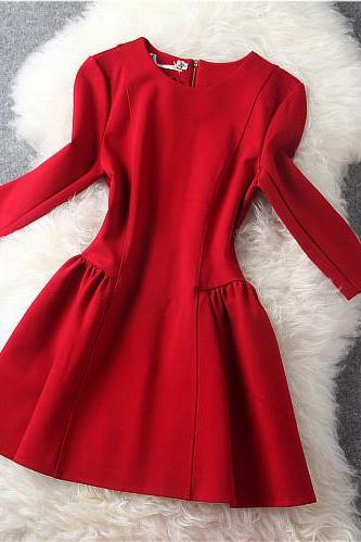 Long Sleeve Dress In Red