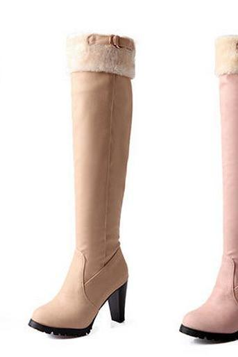 The 2014 Round Of Coarse Fashion Boots With Warm Winter Fur Boots In The Snow Sexy Knee High Riding Boots