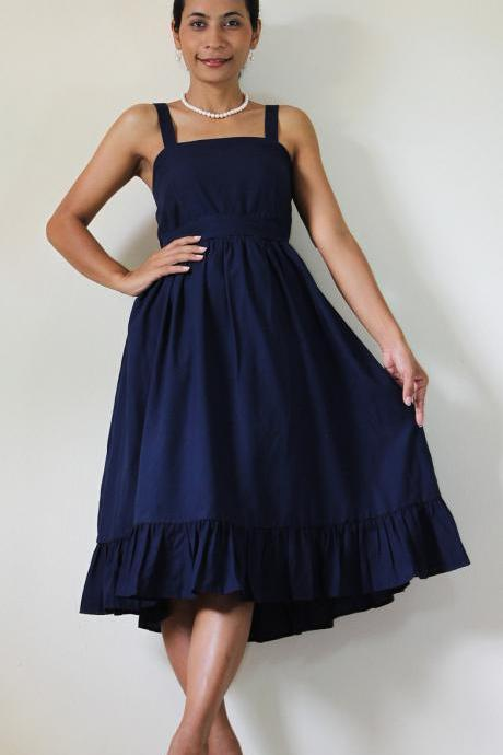 Short blue dress Bridesmaid Prom Party Cocktail Cotton Gown: Party Time Collection II