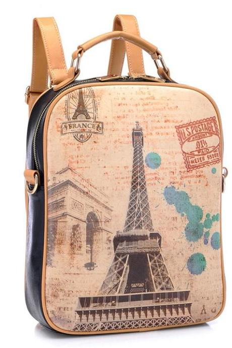 Retro Eiffel Tower Graffiti Backpack