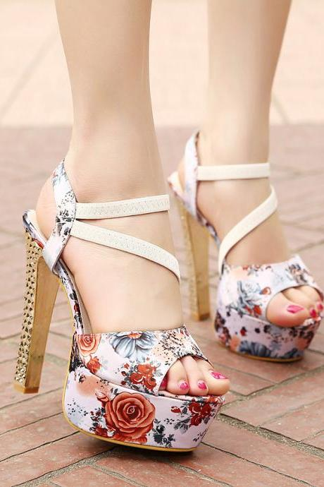 Roman Style Fish Head High-Heeled Sandals With Thick Heels Crystal Floral
