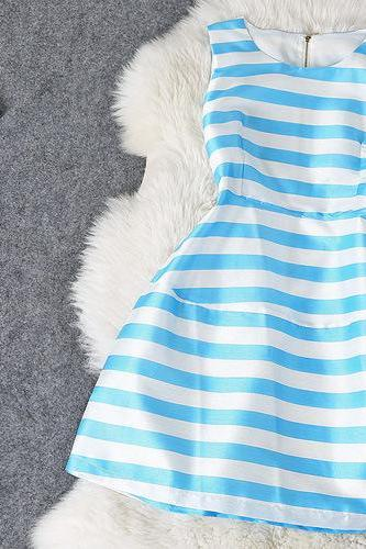 Round Neck Striped Vest Skirt #Kp092202