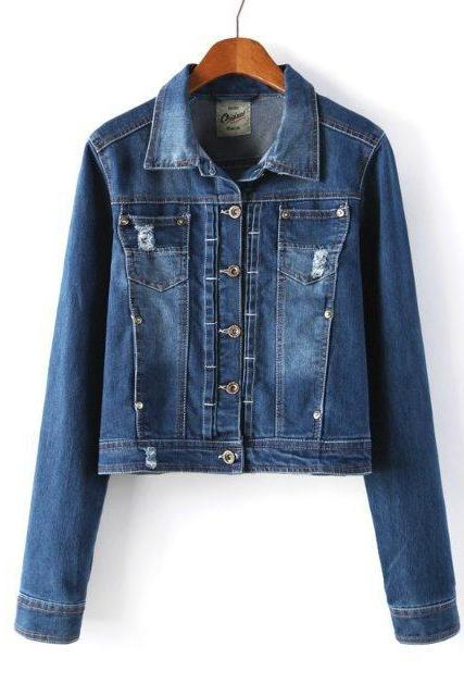 Women Turn-Down Collar Long Sleeve Single Breasted Jean Jacket Coat