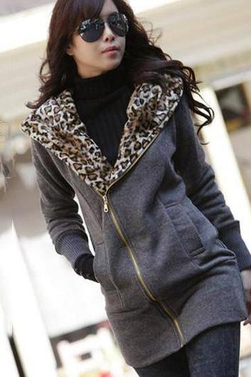 Zip Closure Leopard Inside Cotton Hooded Coat