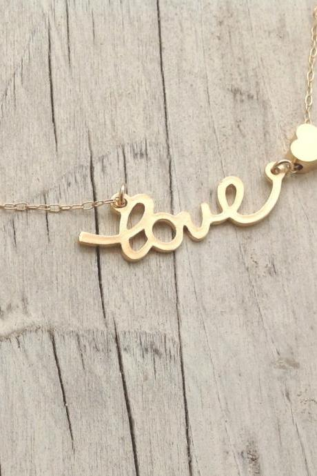 gold necklace, love necklace,heart bead, simple necklace, tiny gold necklace, petite jewelry,1 teenage, friendship necklace 014