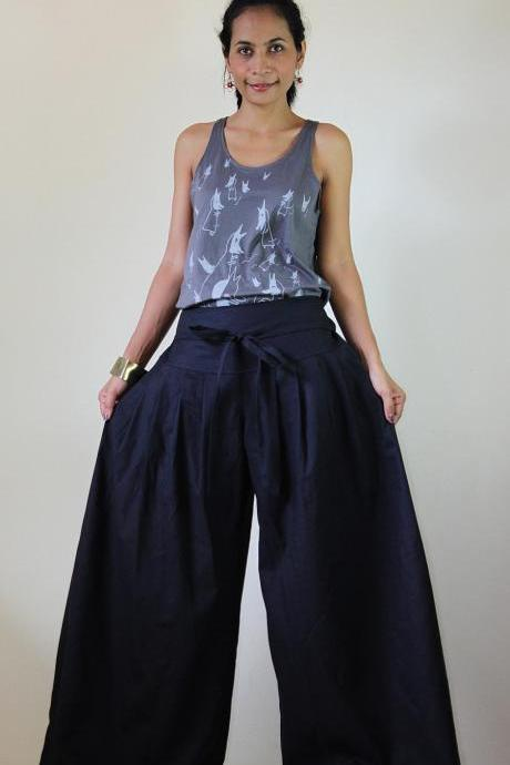 Anthracite Grey Pants - Wide Leg Pants Cotton Linen Casual Wear : Soul of the Orient Collection