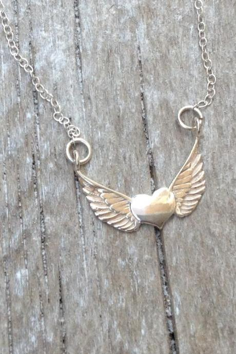 Silver necklace, heart and wings necklace, sterling silver charm, 1silver charm necklace 013