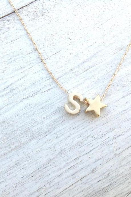 Initial necklace, gold necklace, star necklace, alfabet necklace, personalized necklace, monogram necklace,1 friendship A522
