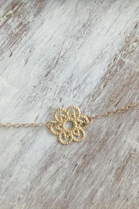 gold necklace, gold flower necklace, delicate necklace, simple gold necklace, tiny necklace, 1mothers day A521