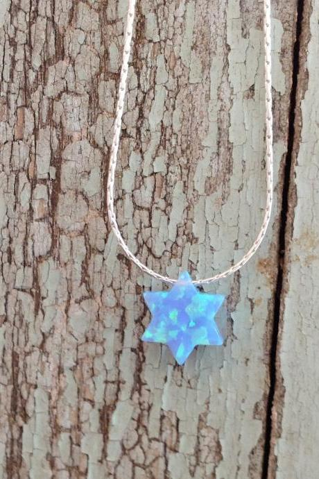 gold necklace, opal star necklace, opal necklace, everyday necklace, star of david necklace, 1glistening opal -010