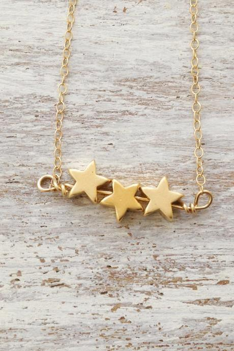 Gold necklace, star necklace, star bead, simple necklace, stars, everyday necklace, tiny gold necklace,1 petite jewelry - D13