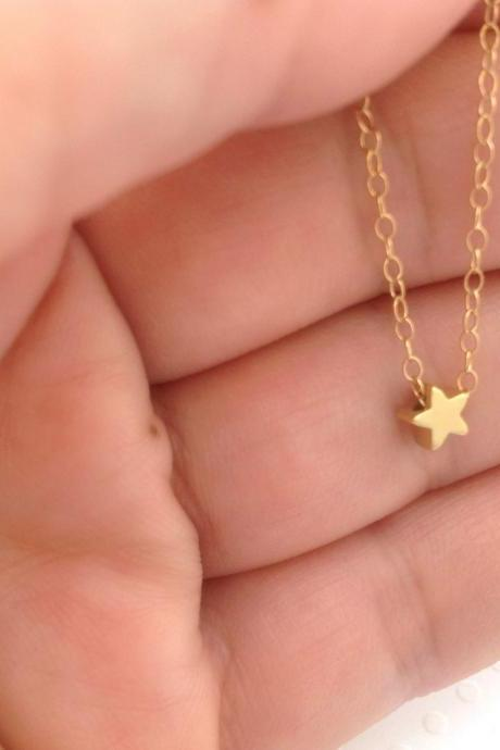 Gold necklace, tiny gold necklace, star necklace, star bead, simple everyday necklace, tiny gold necklace, 1petite jewelry 011