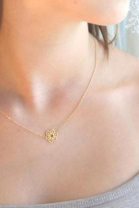 gold necklace, gold flower necklace, delicate necklace, simple gold necklace, 1tiny necklace, mothers day 026