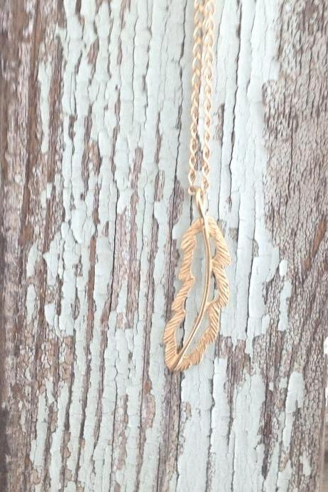 long necklace, long gold necklace, feather necklace, gold necklace, gold feather necklace, dainty necklace, 1boho 015