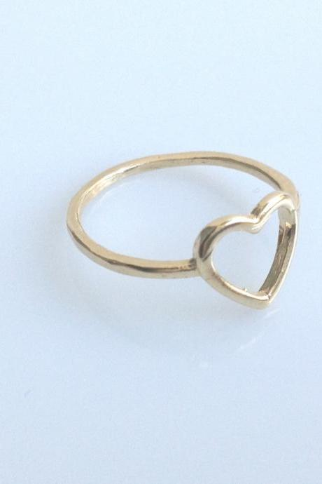 gold filled ring, heart ring,knuckle ring, gold ring, love ring, small gold ring, thin rings, A603