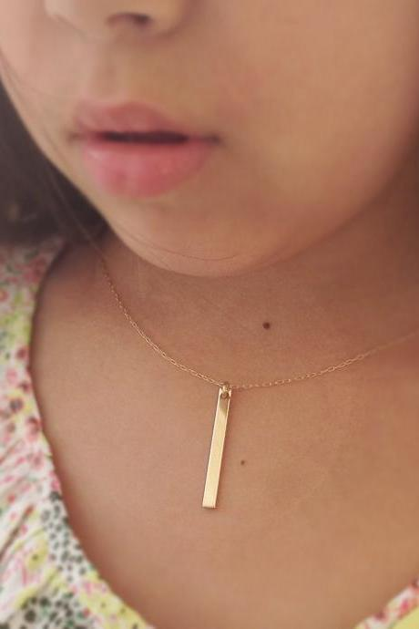 Gold bar necklace, bar necklace, gold bar jewelry, simple necklace, everyday necklace D24