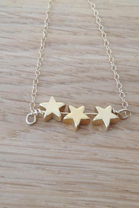 star necklace, Gold necklace, star bead, simple necklace, stars, everyday necklace, tiny gold necklace, petite jewelry - D13