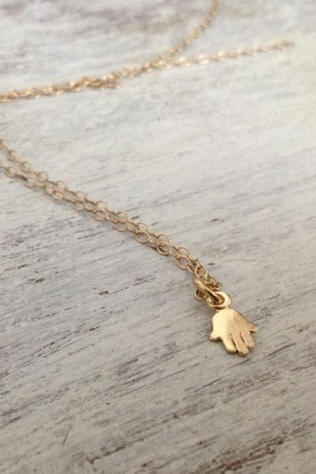 gold necklace, gold hamsa necklace, tiny hamsa necklace, petite jewelry, casual necklace, small petite necklace 012