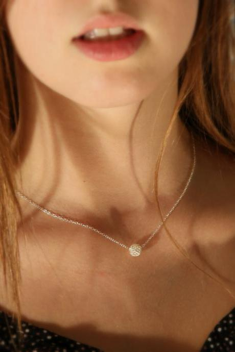 Silver necklace, Ball necklace, Silver ball necklace, small silver jewelry, bridesmaid necklace A609