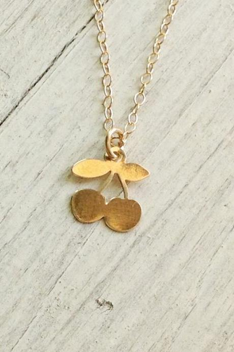 gold necklace, tiny necklace, simple necklace, tiny gold necklace, petite jewelry, Cherry necklace - A611