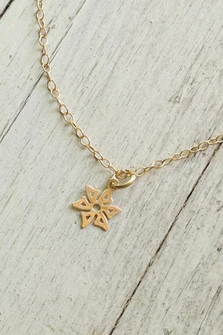 gold necklace, simple necklace, tiny gold necklace, petite jewelry, flower necklace, charm necklace -D18