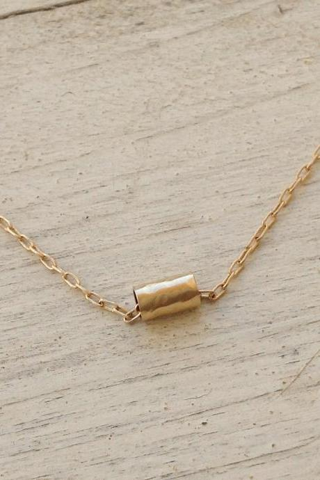 gold necklace, tube necklace, tiny gold tube necklace, petite jewelry, flower necklace, charm necklace -D17