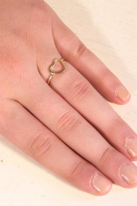 gold ring, gold filled ring, heart ring, knuckle ring, gold ring, love ring, small gold ring, bbf ring - a 500